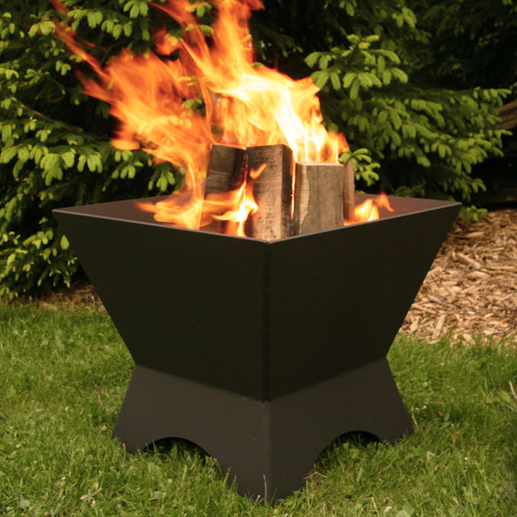 Iron Embers, 2' Modern Cube, Wood, Firepit